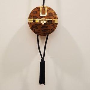 Bags - Vintage Suede Leopard Ball Tassel Purse